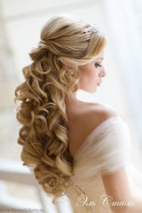 Half up curly wedding hairstyles