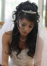 Wedding hair half up half down with veil