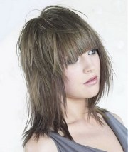 medium layered haircut wispy bangs
