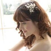 wedding hair fresh flowers