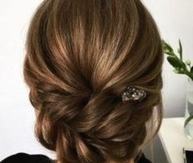Easy Hairdos Medium Hair Bridesmaid Updo Hairstyle For Medium Length Hair   Ideas