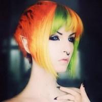Colorful pixie cut