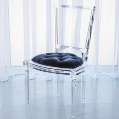 Lucite Acrylic Chairs Black Spandex Chair Covers Used Global Views Products Marilyn Side Admiral Blue 3 31165