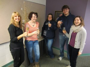 Editorial staff toast the inaugural issue of Cinesthesia (with sparkling grape juice!)