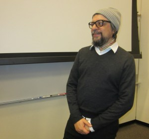 Gustavo Taretto speaks about his film on the Allendale campus.