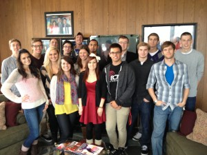Broadcasting students at the WLNS-TV station in Lansing