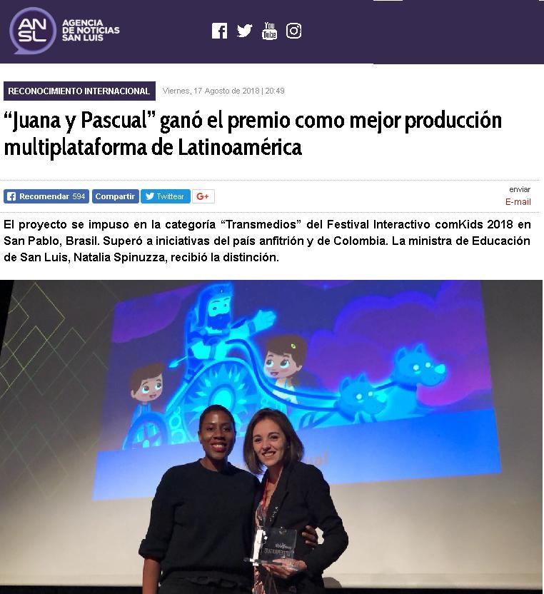 """20180817 - """"Juana y Pascual"""" ganó el premio como mejor producción multiplataforma de Latinoamérica.png"""