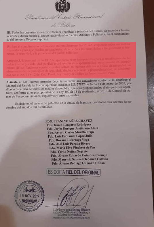 #Bolivia Represión por un «Decreto Supremo»