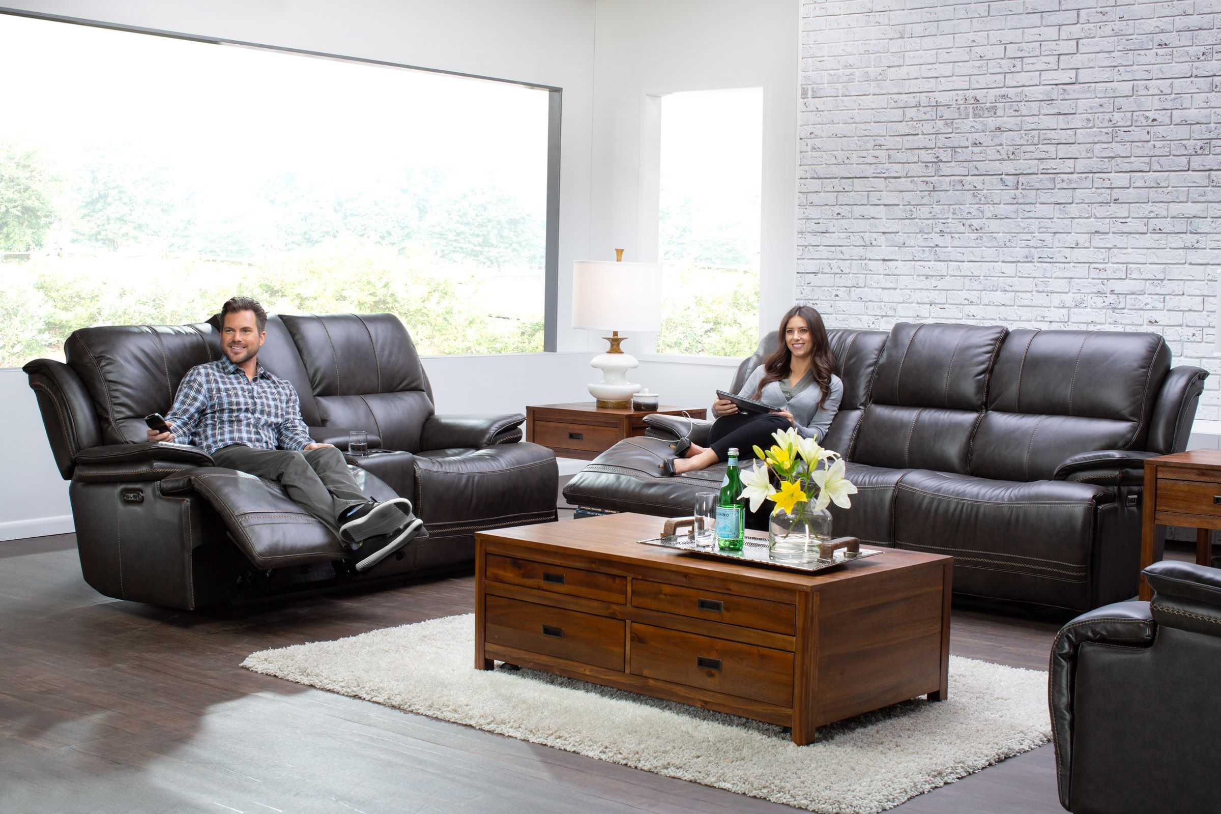 futura leather and vinyl power reclining sofa with headrest in stone large dark grey corner juno living room collection
