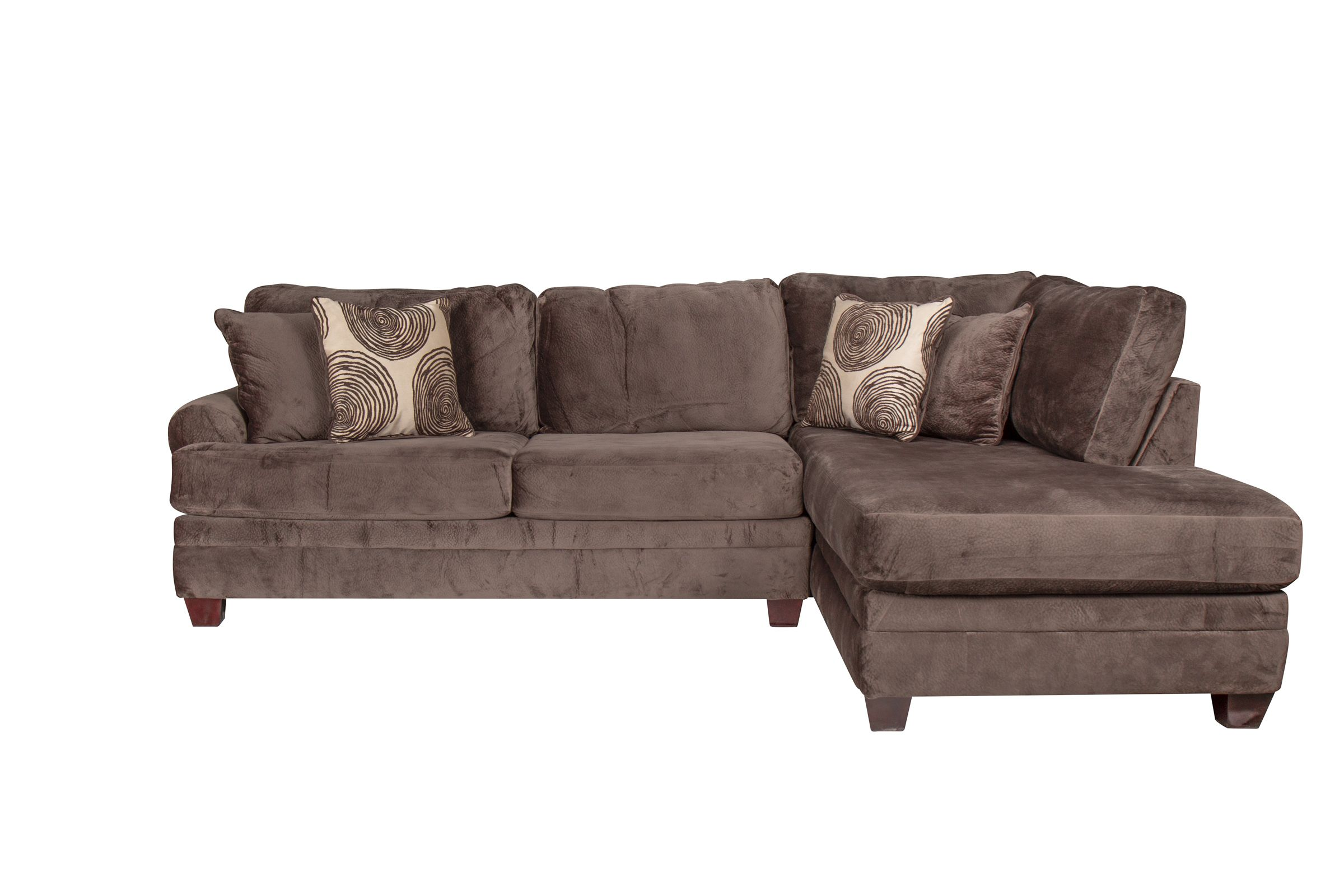 channing microfiber sectional with chaise on the right