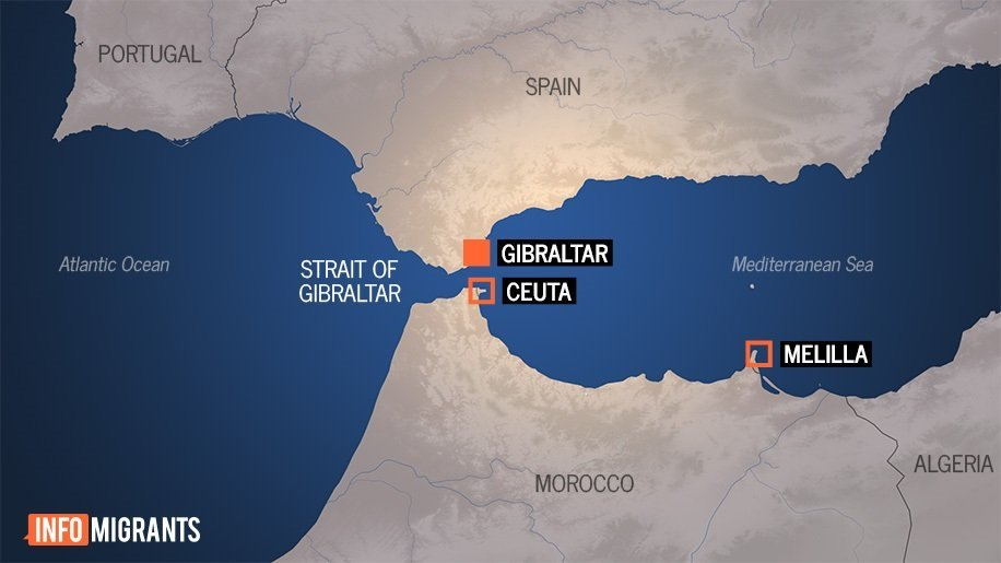 Ceuta est située sur le côté africain du détroit de Gibraltar.