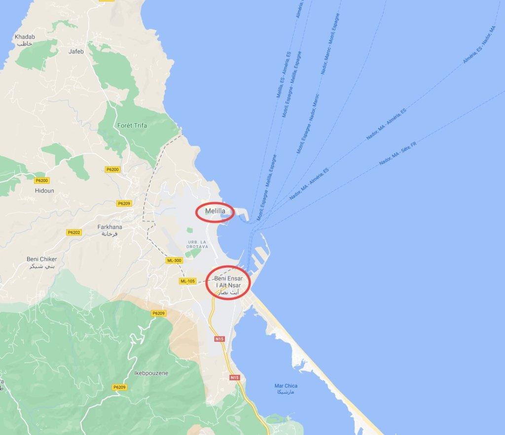 L'enclave espagnole de Melilla au Maroc est à moins de 1 km du port marocain de Beni Ansar. Crédit : Google Image