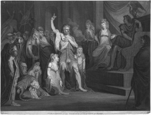 'Caractacus before the tribunal of Claudius at Rome', print, after Henry Fuseli (1792)