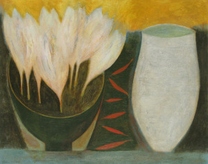 Crocus bowl, red chillies and jar