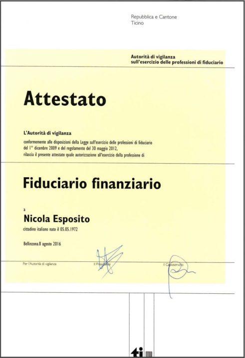 Nicola Esposito - Attestato di Fiduciario finanziario