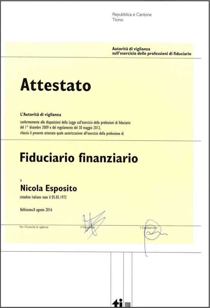 ATTESTATO DI FIDUCIARIO FINANZIARIO