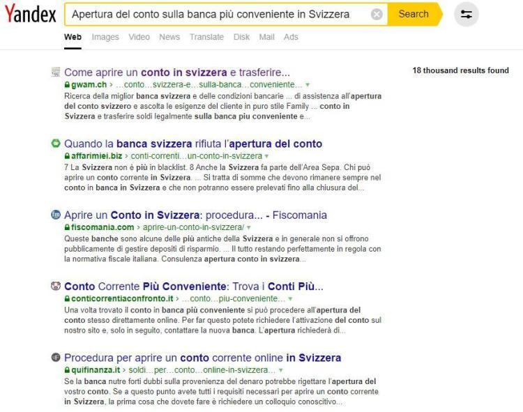 Apertura del conto sulla banca più conveniente in Svizzera Yandex - consulenti SEO