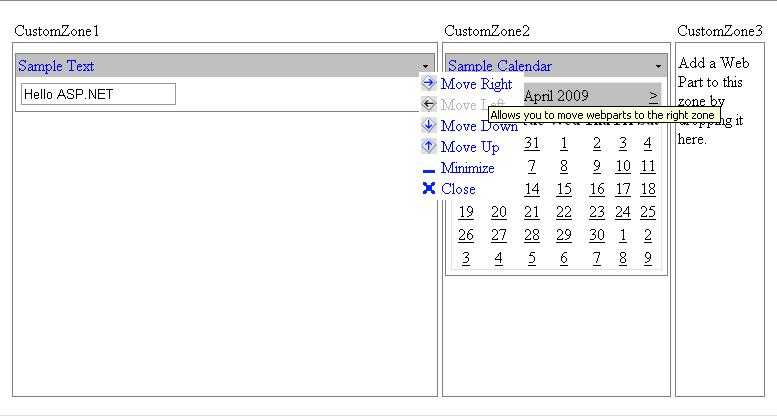 Enhanced Custom WebPartZone with Custom Move Option Verbs