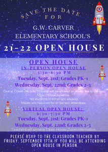 Open House: PK-1st Grade @ In-person