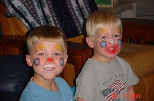 Boys with clown faces