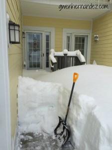 snowed in front door and shovel