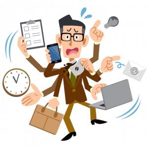man multi-tasking