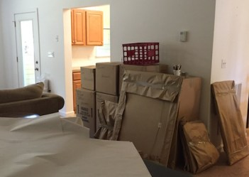 image of moving boxes in living room