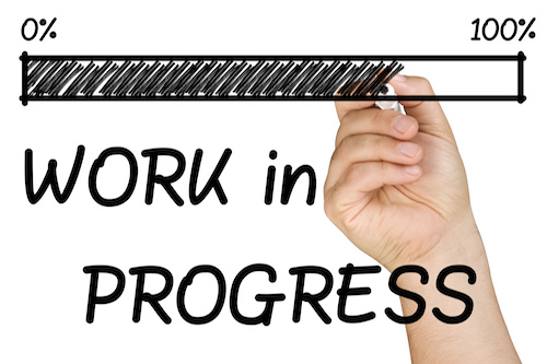 progress bar with work in progress written by hand