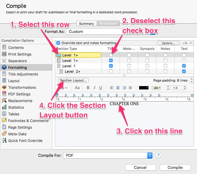 Formatting tab selections