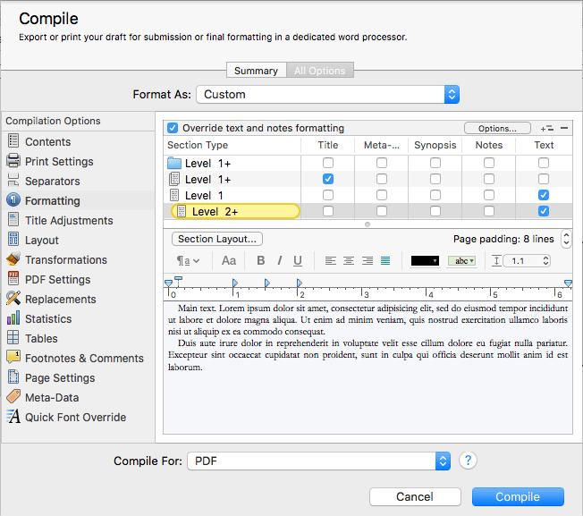 Formatting level 2 text