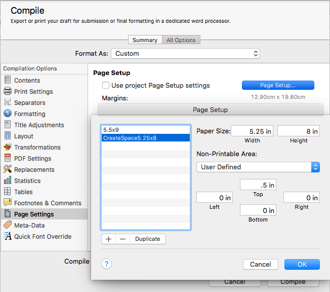 Creating a custom paper size