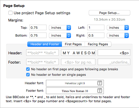 header settings