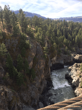 The Yellowstone River from a suspension bridge on the Hellroaring Creek trail