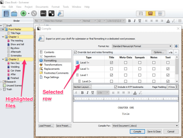 folders highlighted in compile