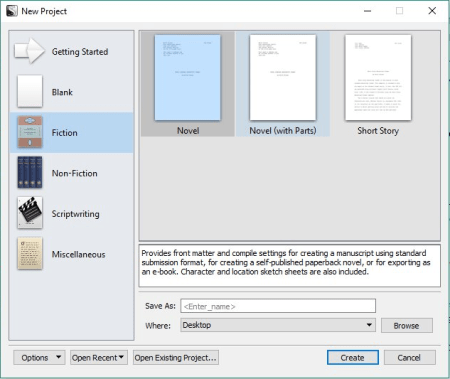 windows project template screen