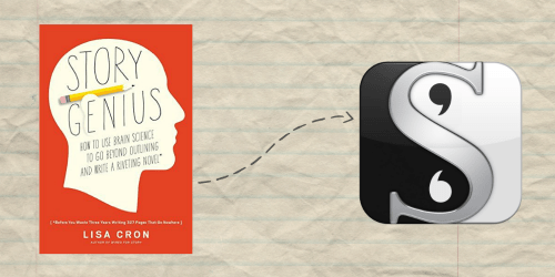 Story Genius book and Scrivener logo