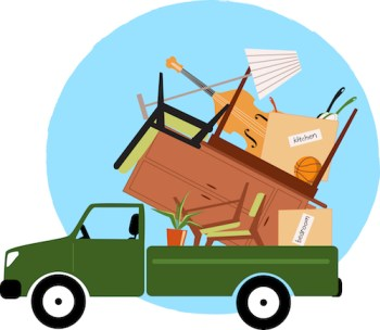 cartoon of small truck loaded with boxes and furniture