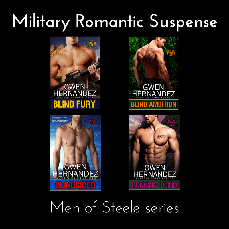 Header: Military romantic suspense with 4 Men of Steele romance covers