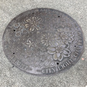 "utility cover stamped with flowers and ""CITY LIGHT CITY BRIGHT"" repeated around the edges"