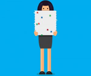 Cartoon of woman carrying large stack of papers up to her nose