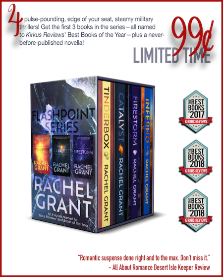 "Box set cover with text: ""4 pulse-pounding, edge of your seat, steamy military thrillers! Get the first 3 books in the series--all named to Kirkus Reviews' Best Books of the Year--plus a never-before-published novella! 99 cents, limited time."