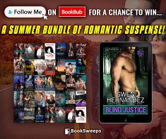 A summer bundle of romantic suspense ad graphic displaying the cover of Blind Justice and a collage of other covers
