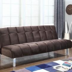 Rialto Fabric Futon Sofa Bed Armless 2 Seater Uk Coaster With Chocolate Finish 360003