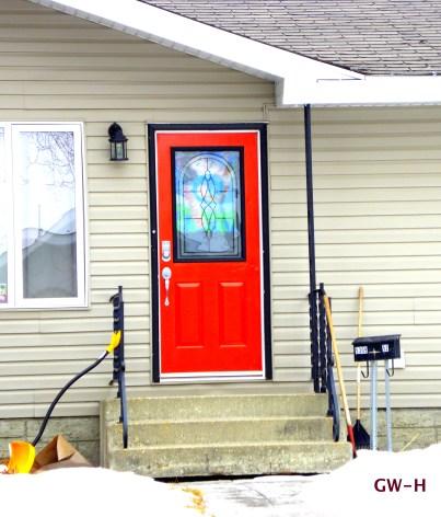 Red house door, Camrose, Alberta