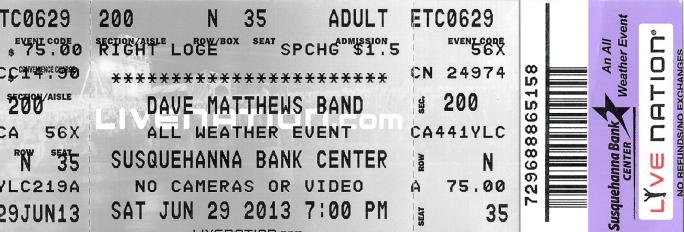DMB Tour 06/29/13 ticket stub