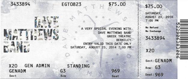 DMB Tour 08/23/14 ticket stub