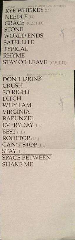 DMB Tour 06/27/2015 Set List