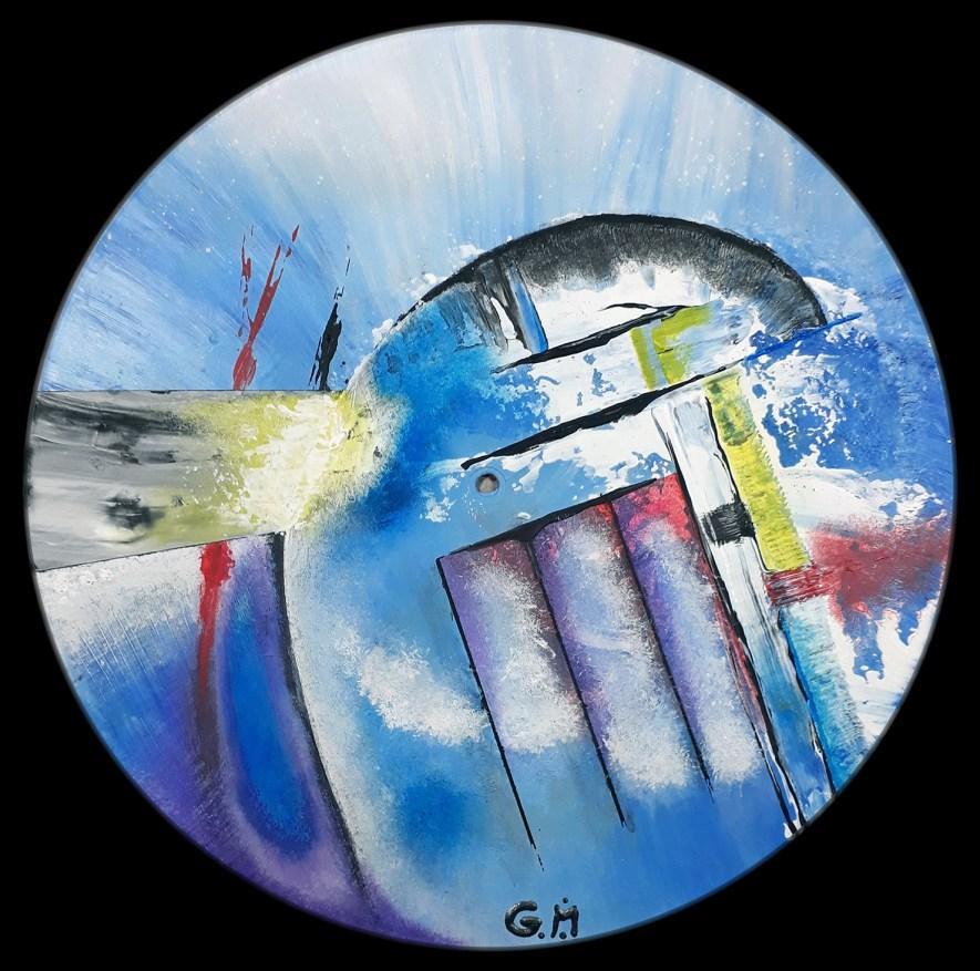 """#48 """"A quai"""" Acrylique sur vinyle, 78 tours"""