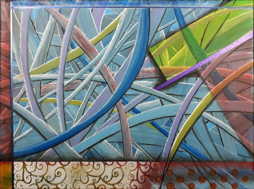 """#51 """"μονοπάτια"""" Les chemins Acrylique sur toile, 30x40"""