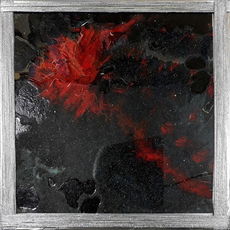 """#59 """"Offrande à Arachne"""" Acrylique sur toile 3D, 30x30"""